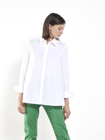 Chemise en popeline de coton stretch - Blanc