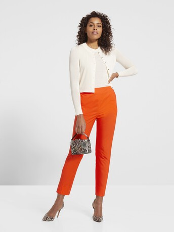 Pantalon en popeline de coton stretch - Orange