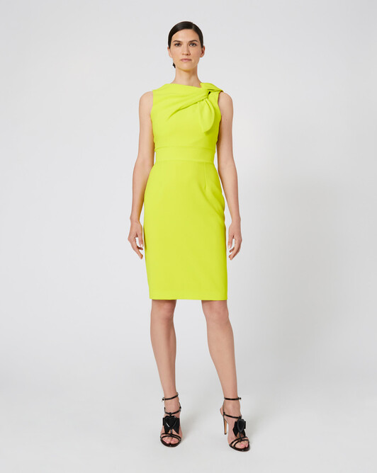 Satin-back crepe dress - Lime