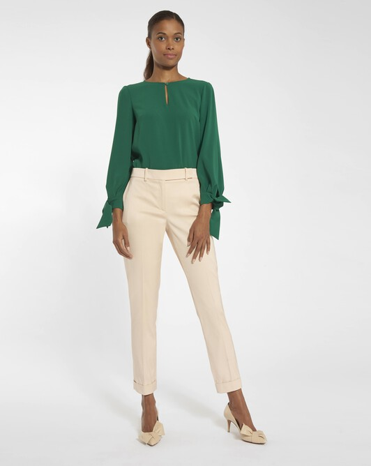 Stretch ottoman trousers - Pale pink