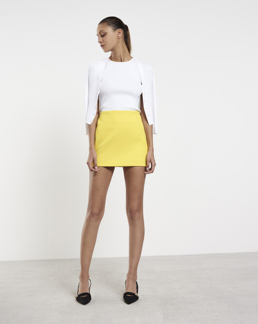 Cotton-piqué skirt - Citron