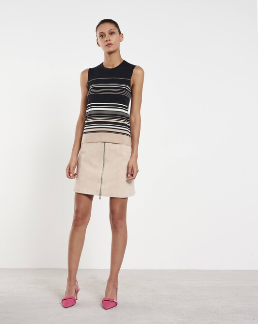 Striped silk and cotton tank top - Noir