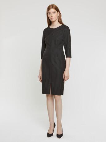 Robe droite zippée en jacquard stretch rayé - Noir