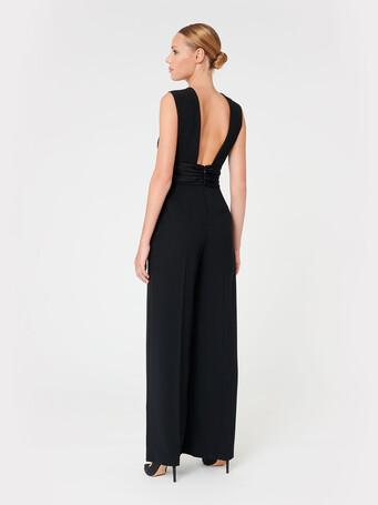 Satin-back crepe jumpsuit - Noir
