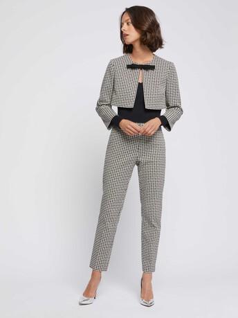 Daisy-print jacquard bolero jacket with bow - Noir / blanc