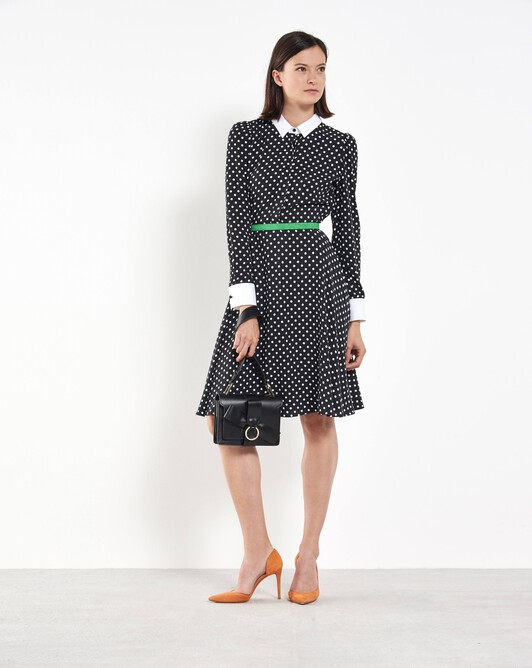 Polka-dot midi dress - Noir / blanc