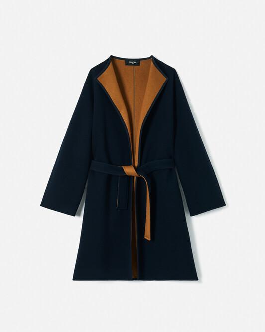Manteau en sergé bicolore - Marine / caramel
