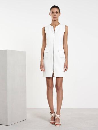 Robe mi-longue en coton - Blanc