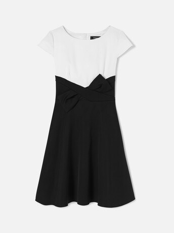 Robe en ottoman stretch - Blanc casse / noir