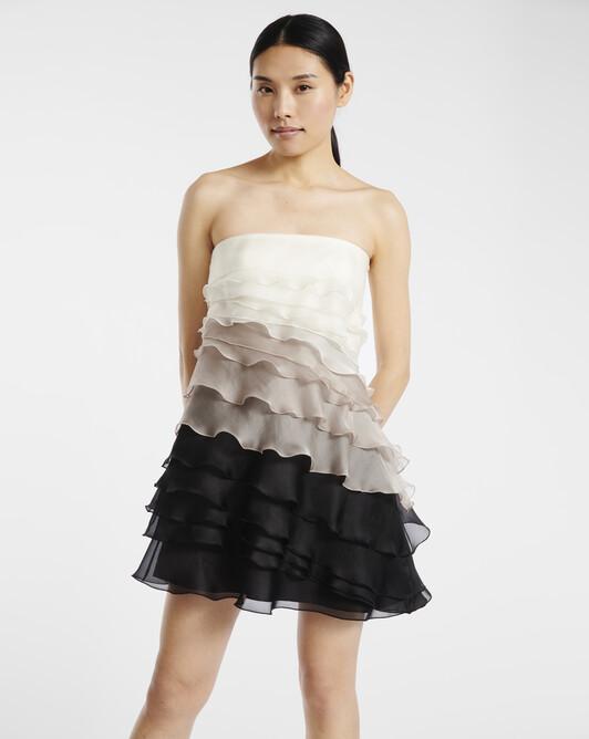 Strapless dress in organza - multicolor