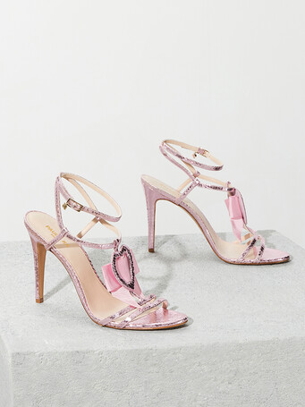 Python-print leather sandals - Candy pink