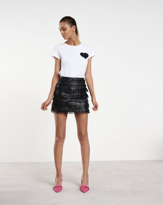 Short skirt in fringed lambskin leather - Noir