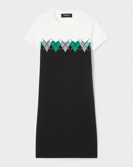WOVEN DRESS - Noir / emeraude
