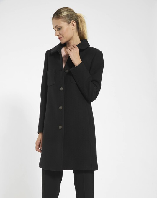 Manteau en drap de laine - Noir