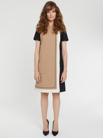 Graphic stretch-tricotine dress - Camel / noir