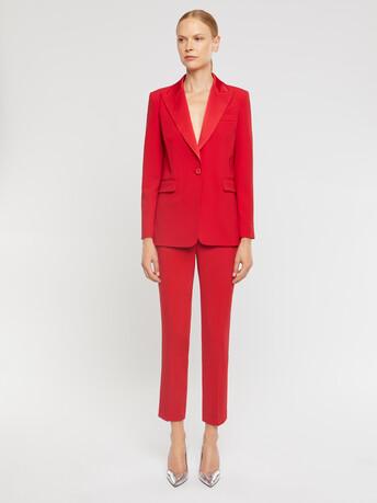 Satin-back crepe jacket - Ruby