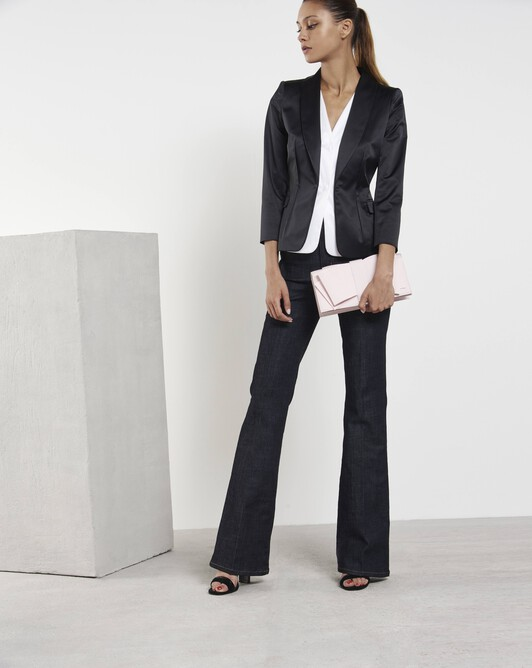 Satin-poplin jacket - Noir / blanc