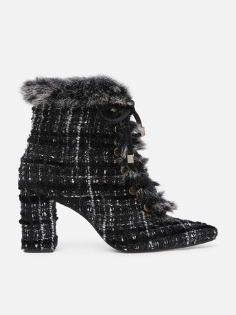 Lurex and velvet tweed ankle boots - Noir