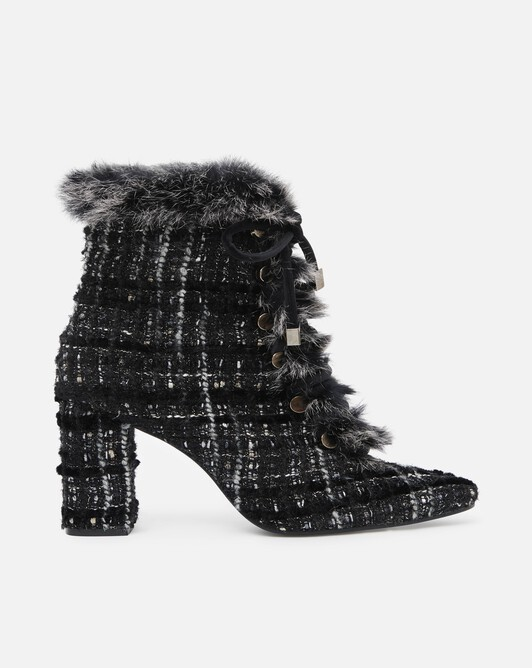 Bottines en tweed velours et lurex - Noir