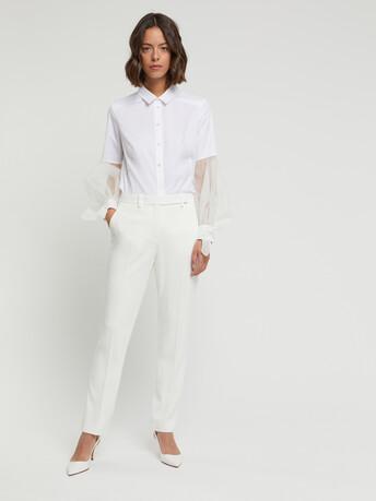Chemise en popeline satinée stretch - Blanc