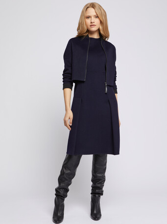 Cropped jacket with teddy collar - Navy blue