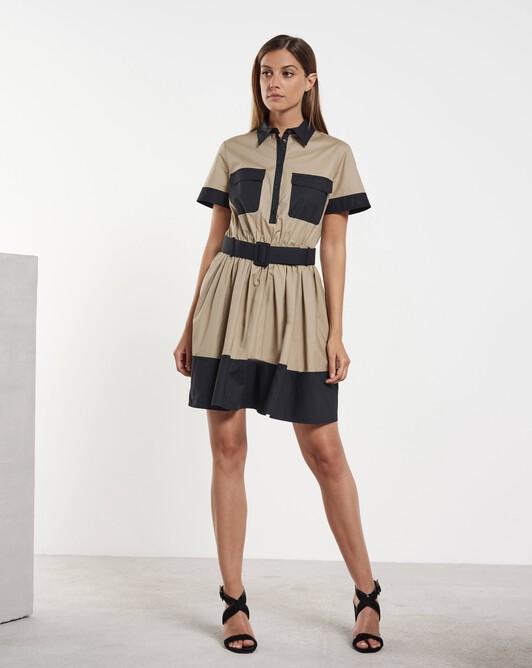 Robe courte en coton - Beige / noir