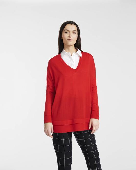 Sweater in merino wool - groseille