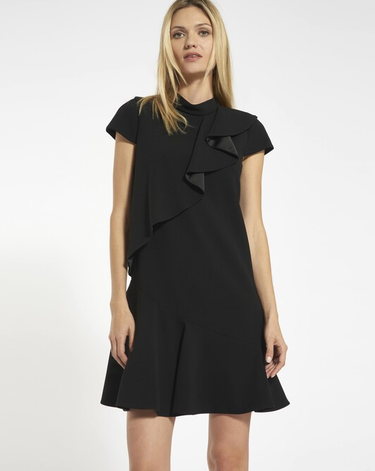 Satin-backed crêpe dress - black