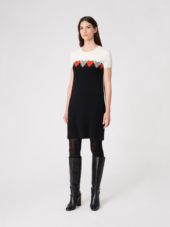Wool and cashmere dress - Noir / cornaline