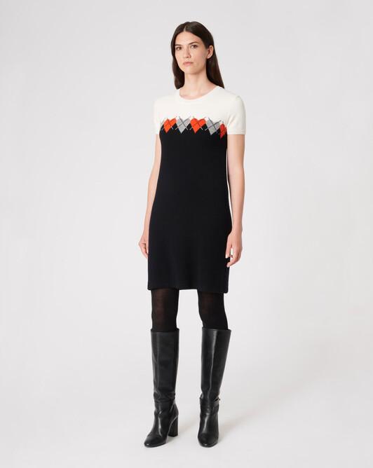 WOVEN DRESS - Noir / cornaline