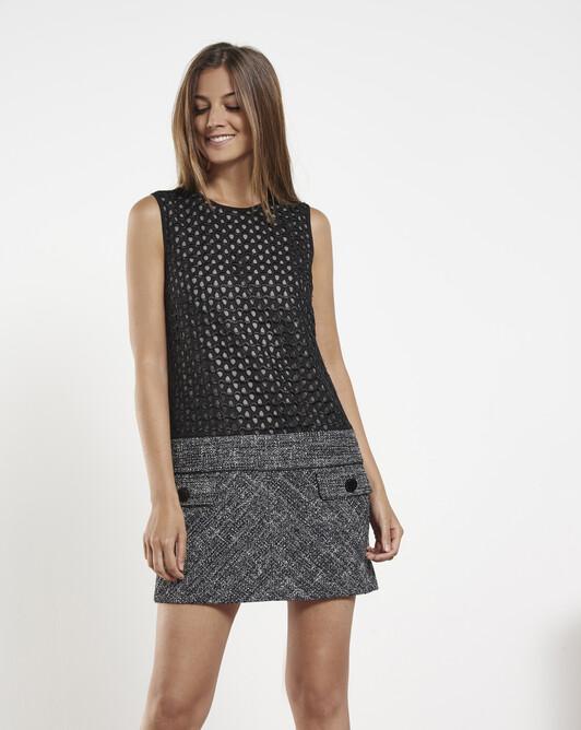 Marled tweed dress - Noir