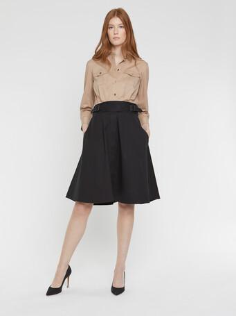 Stretch-satin poplin dress - Beige / noir