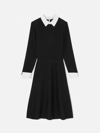 Robe mi-longue en mérinos - Noir / blanc