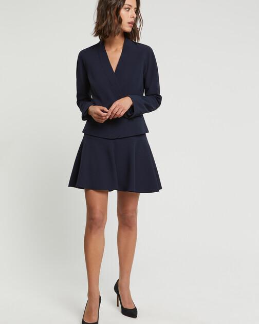 Satin-back crepe skirt
