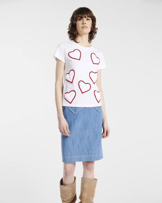 T-shirt in heart-print jersey and poplin - blanc / rouge