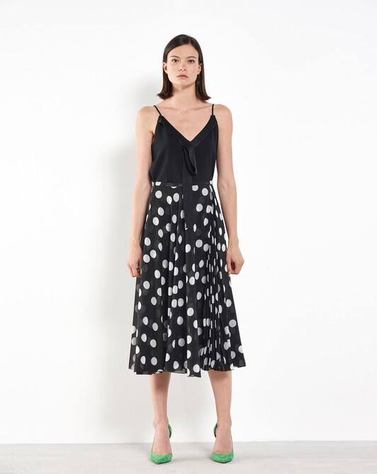 Long polka-dot skirt - Black / white