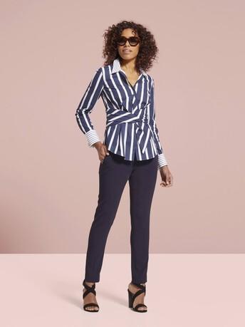 Chemise en coton à rayures - Marine / blanc