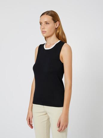 Silk and cotton tank top - Noir