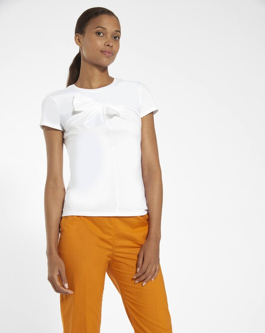 Stretch cotton jersey top - white