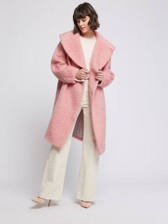 Manteau à col XXL en laine alpaga - Rose