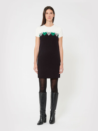 Wool and cashmere dress - Noir / emeraude