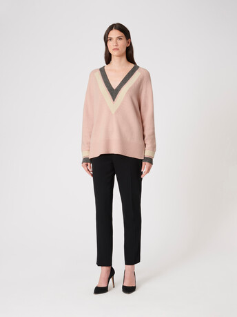 Wool sweater - Rose pale / etain