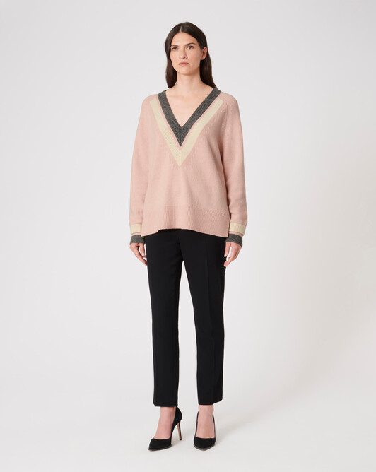 KNITTED SWEATER - Rose pale / etain