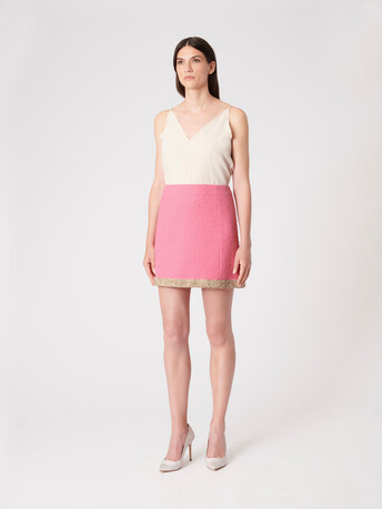 Plumetis canvas skirt - Bubble gum