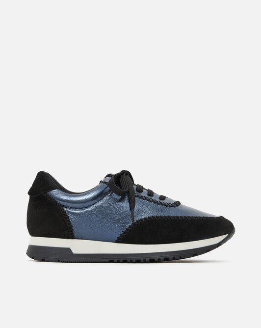 Laminated leather sneakers - Blue