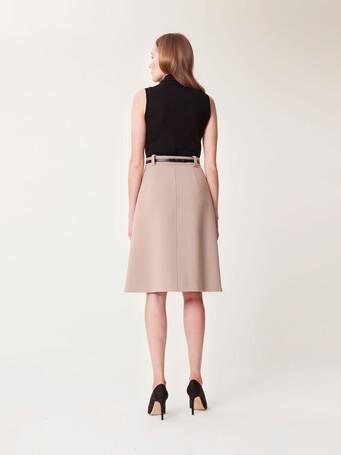 Stretch-tricotine skirt - Beige