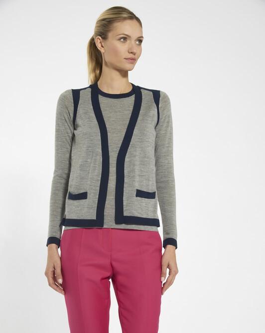 Merino sweater - Souris / marine