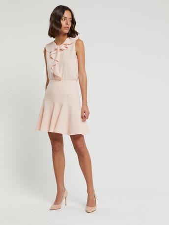 Satin-back crepe skirt - Poudre