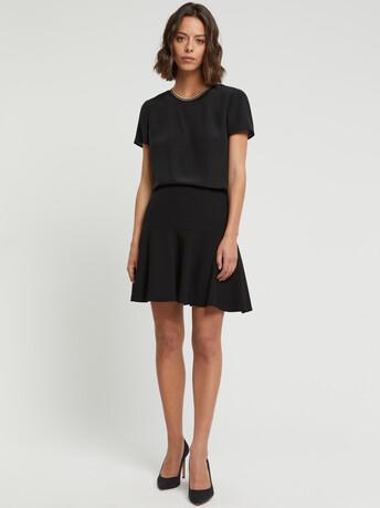 Satin-back crepe skirt - Noir