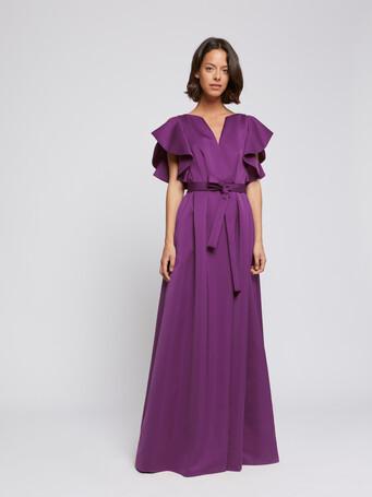Robe longue à volants en crêpe envers satin - Violet